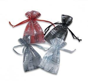 "Organza Bags, 2 3/4""x3"", with Stripe Design, 4 Colors to Choose from, 12 Pk"