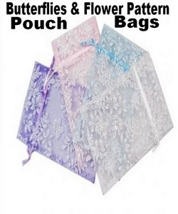 "Organza Bags, 4"" x 5"" with Butterflies & Flower Pattern Pouches With Glitters,  4 Colors, 12 Pk"