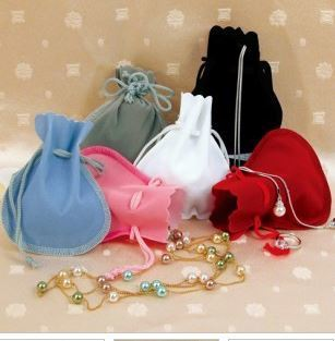 Velvet Scalloped-edge pouches with Drawstring,  3 1/2''W x  3''H, Choose of 6 Colors, 12 Pk