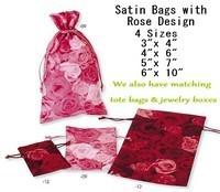"""Satin Favor Bags With Rose Design, 5""""x 7"""", 6 Pk"""