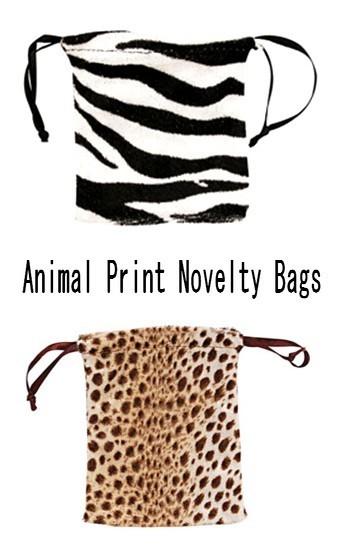 """Velvet Animal Print Pouch  Bags, 1 3/4"""" x 2"""", Leopard or Zebra Design, 12 Pk"""