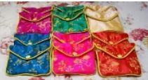 """Silk Brocade Gift Pouch with Zipper and Snap,  6 1/2""""x 4"""" Mixed Colors, 12 Pk"""