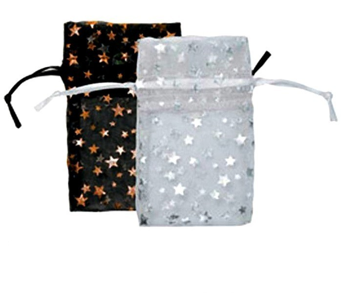 Organza Drawstring Pouches, Star Design, 3''W x 4''H, 12 Pk