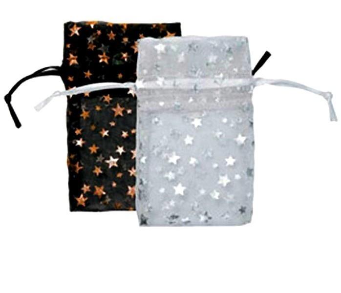 Organza Drawstring Pouches, 4''W x 5''H, Star Design, 12 Pk