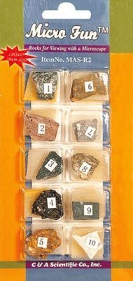 Rock Collection Set, 10 Different Rock on a Card, Priced Per Card