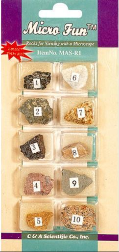 Rock Collection Set, 10 Different Rock on a Card, Price per Card