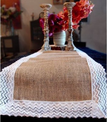 Burlap Jute and Lace Table Runner, 12 1/2