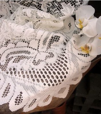 Ivory Lace Table Runner with Floral Design, 13