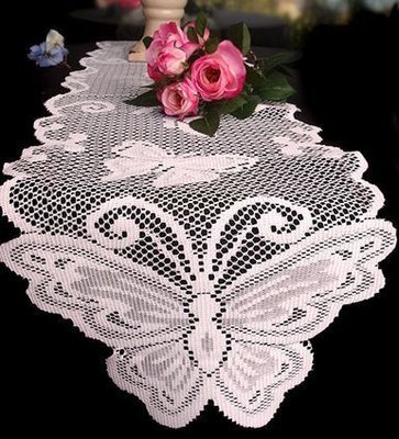 White Lace Table Runner with Butterfly Design, 13