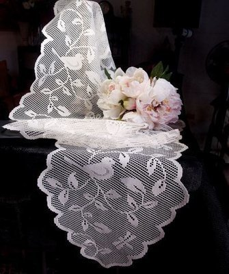 White Lace Table Runner with Bird Design, 13