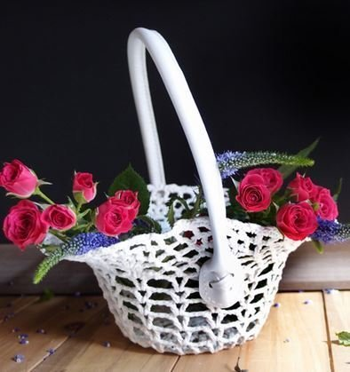 "Lace Basket with Handle, 8 1/2""x 4 1/4""H x 4""Base, Priced Each"