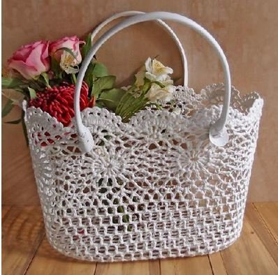 """Lace Basket with Handle, 15""""x 10 1/4""""x 9 1/2""""H, Priced Each"""