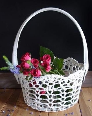 Lace Basket with Handle, 4