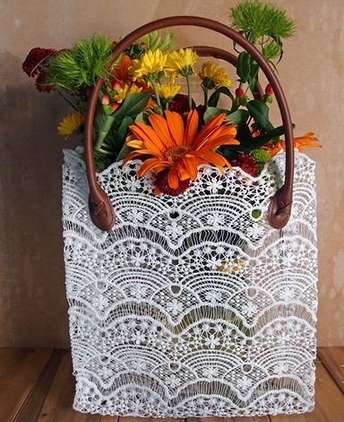 """Lace Basket with Handle, 10 1/2""""x 4""""x 11""""H, Priced Each"""