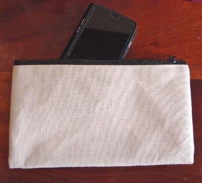 Natural Canvas Flat Zipper Pouch, 9 1/4