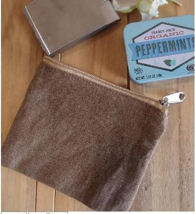 """Washed Brown Canvas Flat Zipper Pouch, 5 1/2""""x 4 1/2"""", Priced Each"""