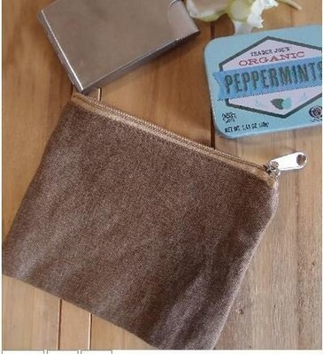 Washed Brown Canvas Flat Zipper Pouch, 5 1/2