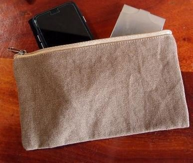 Washed Brown Canvas Flat Zipper Pouch, 9 1/2