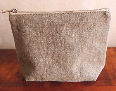 Washed Brown Canvas Gusset Zipper Pouch, 8