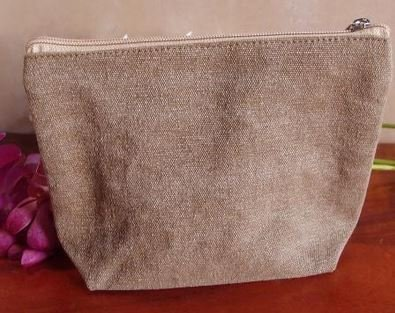 Washed Brown Canvas Gusset Zipper Pouch, 10