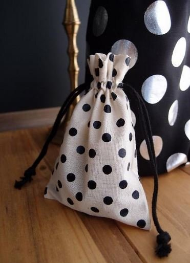 """Cotton Gift Favor Bags With Black Dots, 3 1/3""""x 5"""", 6 Bags Per pack"""