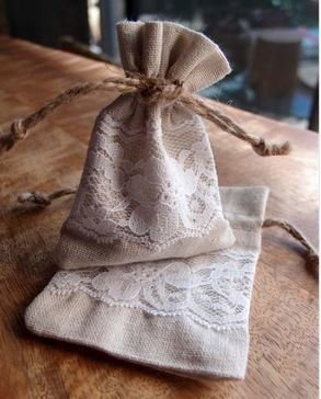 """Linen Gift Bags with Lace, 3""""x 4"""", Priced Pr 6 pack"""