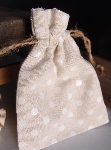 "Linen Gift Bags with White Polka Dots, 3 1/2""x 5"", Priced Per 6 Pack"