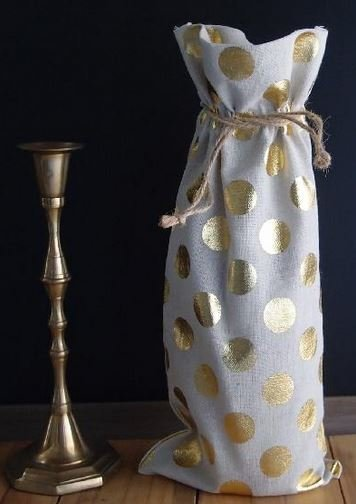 "Linen Wine Bags with Gold Polka Dots, 6""x 14""T, Priced Per 3 Pack"