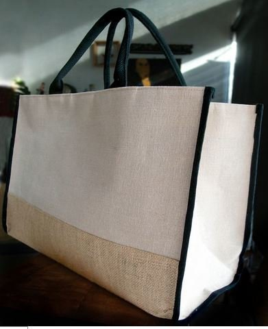 """Jute and Cotton Blend Tote Bag with Black Burlap Accents, 17 1/2""""x 8 1/2""""x 11 1/2""""H, Priced Each"""