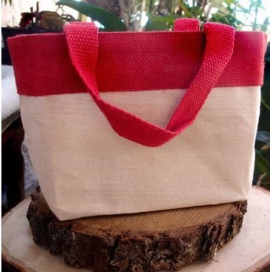 """Jute and Cotton Blend Tote Bag with Red Burlap Accents, 11 1/2""""W x 7 1/2""""H x 4 1/2""""D, Priced Each"""