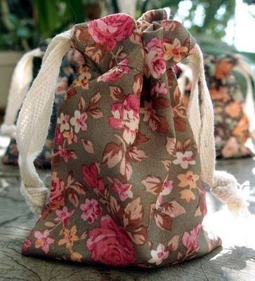 Vintage Floral Print on Brown Bag with Cotton Drawstrings, 3