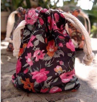 Vintage Floral Print on Black Bag with Cotton Drawstrings, 3