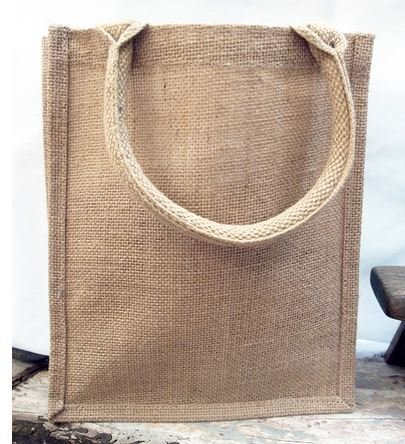 """Jute Shopping Totes, natural Color, 12""""x 7 3/4""""x 12""""H, Priced Each"""