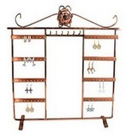 "Metal Jewelry Display, 13 3/4""W x 13 1/2""H, Copper or Antique Silver Finish, Priced Each"