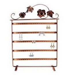 """Metal Earring Display, 11 3/4""""W x 17""""H, Copper Finish, Priced Each"""