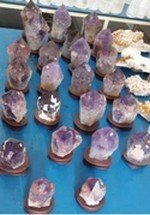 Amethyst Points on a Wood Base, Sizes will Very, Priced Each