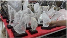 Selenite on a Wood Base, 1 1/2 lb Size, Priced Each