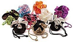 "Satin Pouches, Reversible, 7"" Dia, 9 Different Colors, Priced Per 6 Pack"