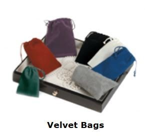 "Velveteen Bags with Drawstring, 3""x 4"", 13 Different Colors to Choose From, Priced per 12 Pack"