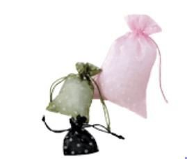 Organza Bags with Polka Dot Print, 6