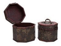 Vintage Style Flower Pattern Wooden Octagon Box ,Set of 2, Priced Pe Set