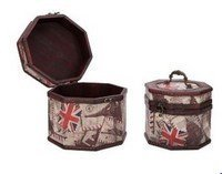 Vintage Style World Scenery Pattern Wooden Octagon Box , Set of 2, Priced Per Set