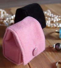 "Small Velvet Jewelry Holder, Pink, 1 5/8""Wx 1 5/8""H x 1 1/4""D, Priced Each"