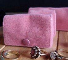 "Medium Velvet Jewelry Holder, Pink, 2 5/8""W x 1 5/8""H x 1 1/4""D, Priced Each"