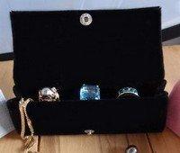 Large Velvet Jewelry Holder, Black, 4 3/4
