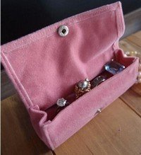 """Large Velvet Jewelry Holder, Pink, 4 3/4""""W X 1 5/8""""H X 1 1/4""""D, Priced Each"""