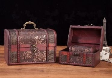 Vintage Style Wooden Embossed Flower Pattern Jewelry Boxs, Set of 3, Priced Per Set