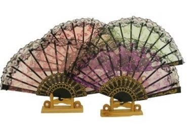 """Decor Fans, Embroidery Pictures with Sequin, 15"""" Open, 12 Pk Assorted"""