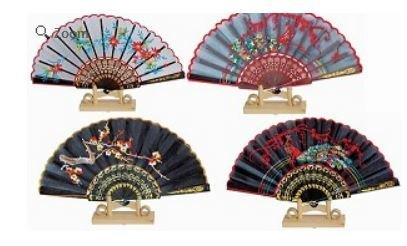 """Decor Fans, Embroidered Designs, 15"""" Open, Priced Per 12 Pack Assorted"""