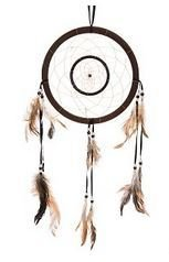 "Traditional Dream Catcher, Brown Double Circle, 21"" Long, Priced Each"